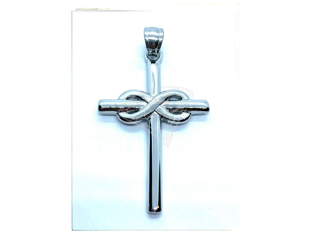(O421) Ocelový kříž se symbolem NEKONEČNA