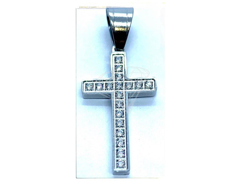 (O425) Ocelový kříž s kamínky 2,4 cm