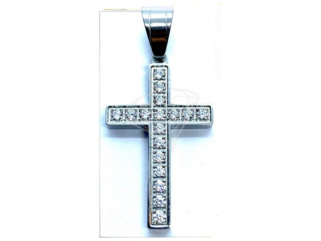 (O428) Ocelový kříž s kamínky 2,7 cm
