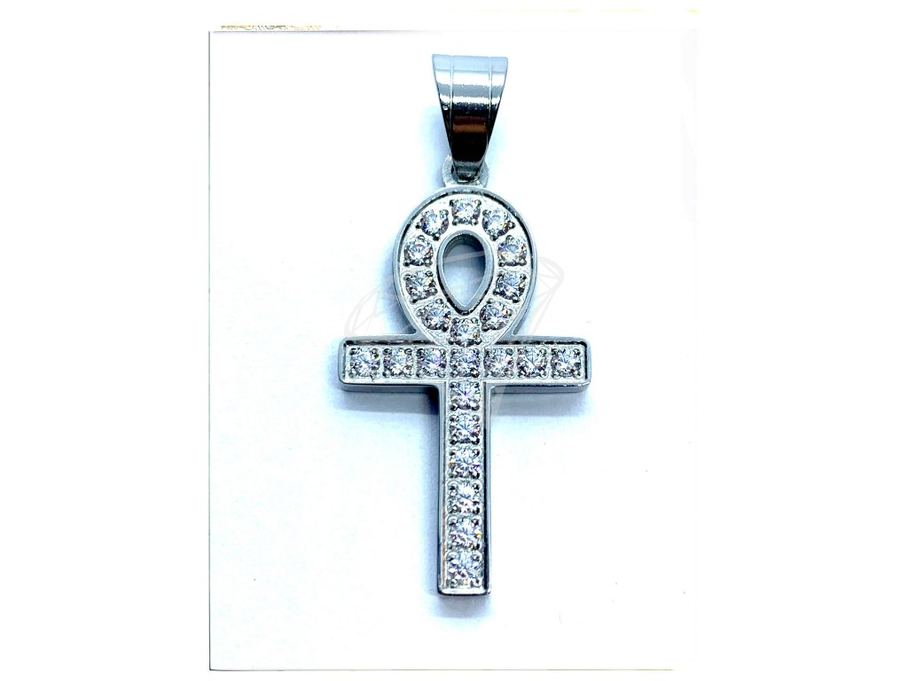 (O429) Ocelový Nilský kříž 3 cm, ANCH s kamínky
