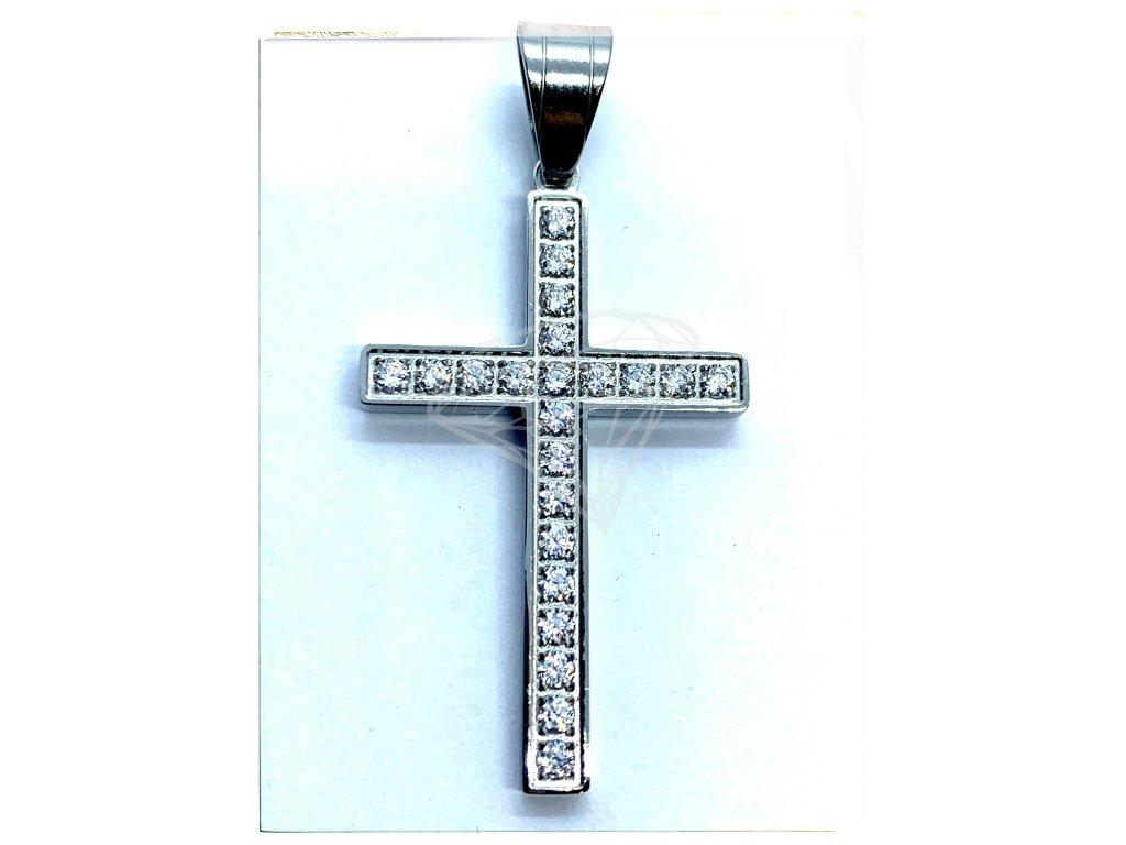 (O431) Ocelový kříž s kamínky 3,4 cm