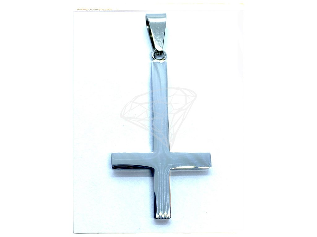(O441) Ocelový OBRÁCENÝ KŘÍŽ, lesklý 3,8 cm