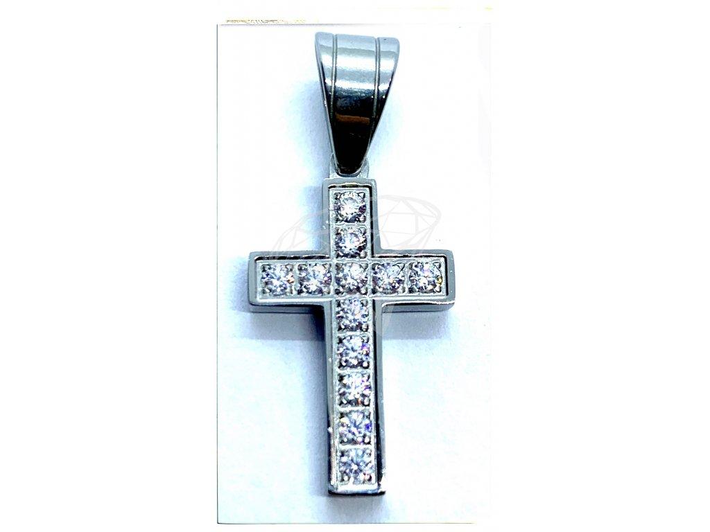 (O443) Ocelový kříž s kamínky 2 cm