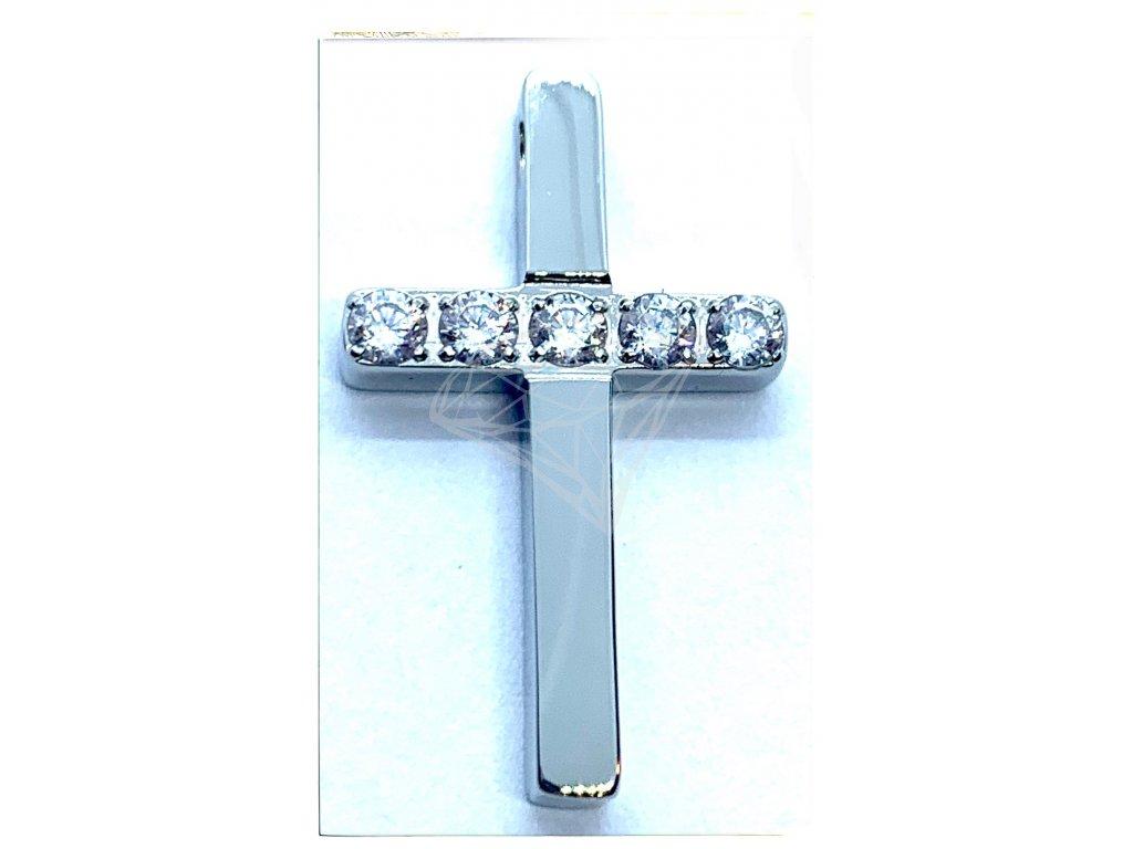 (O444) Ocelový kříž s kamínky 2,4 cm, bez očka