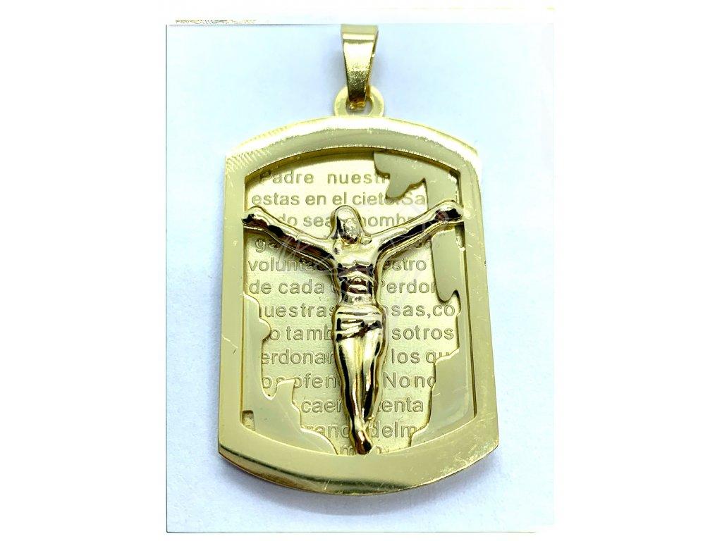 (O446) Ocelová ploška s JEŽÍŠEM, GOLD/zlatá barva