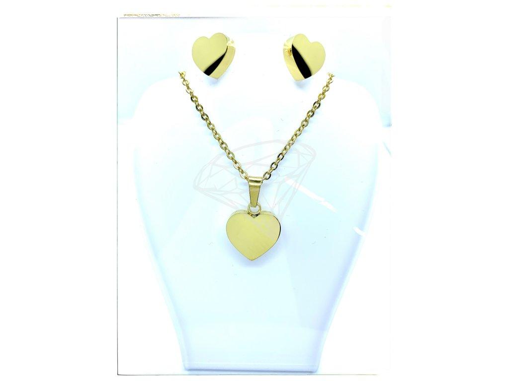 (O508) Ocelový dámský set SRDCE bez kamínků barva GOLD/zlatá