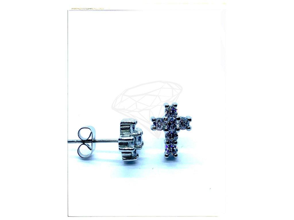 (O2103) Ocelové náušnice na puzetu KŘÍŽEK s kamínky