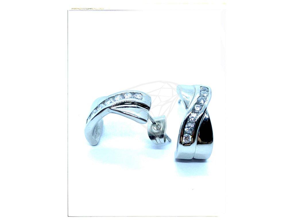 (O2104) Ocelové náušnice na puzetu s kamínky