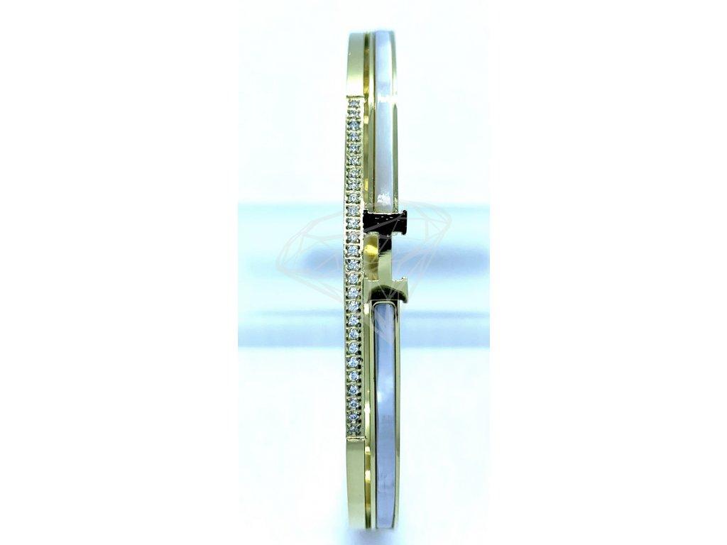 (O601) Ocelový PEVNÝ dámský náramek s PERLETÍ a kamínky GOLD/zlatá barva