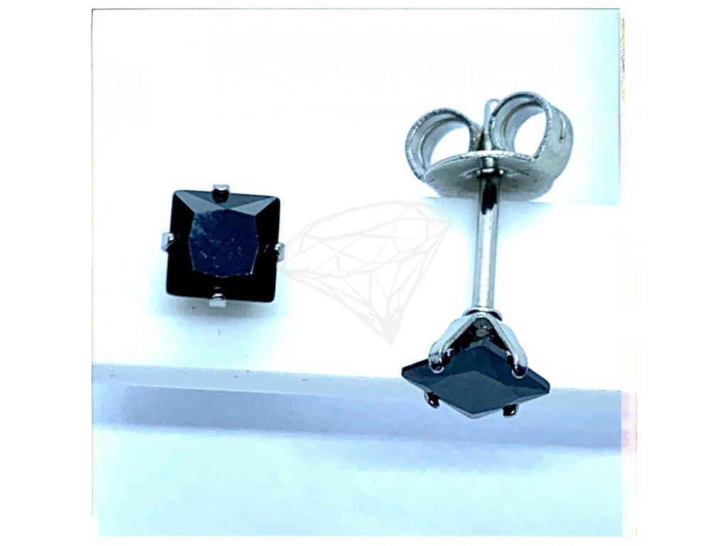 (O2121) Ocelové náušnice na puzetu, PECKY hranatý kamínek 4 mm, BLACK/černá barva kamínku