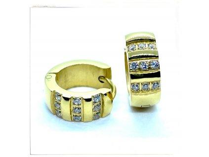(O5249) Ocelové náušnice KROUŽKY s kamínky, GOLD/zlatá barva