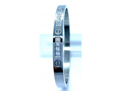 (O604) Ocelový PEVNÝ dámský náramek s kamínky