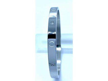 (O605) Ocelový PEVNÝ náramek s kamínky