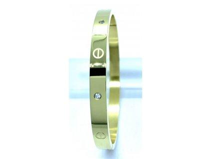 (O606) Ocelový PEVNÝ dámský náramek s kamínky GOLD/zlatá