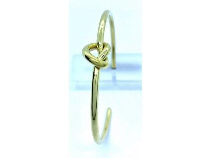 (O611) Ocelový PEVNÝ dámský náramek, tvar UZLÍK GOLD/zlatá