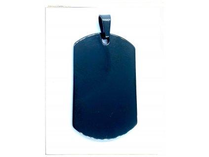 (O3131) Ocelový přívěs PLOŠKA / PSÍ ZNÁMKA, BLACK/černá barva