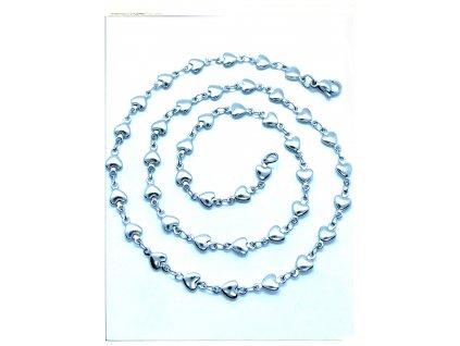 (O341) Ocelový dámský řetízek, vzor SRDCE