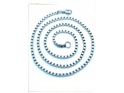 (O373) Ocelový řetízek UNISEX 36 -60 cm/0,3 cm, hranatý VENEZIA