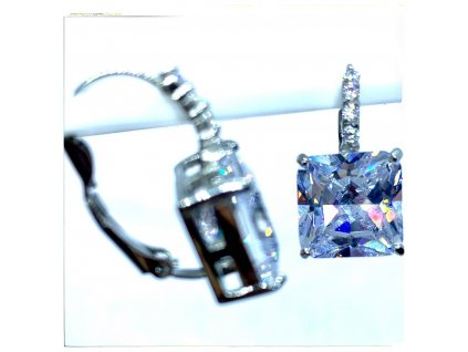 (O208) Ocelové dámské náušnice, tvar ČTVEREC s kamínky (1,2 cm), na klapku