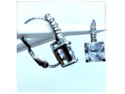 (O209) Ocelové dámské náušnice, ČTVEREC s kamínky (0,8 cm), na klapku