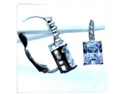 (O212) Ocelové dámské náušnice, OBDÉLNÍK s kamínky, na klapku