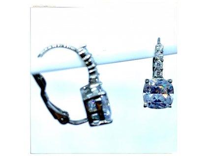 (O213) Ocelové ŠTRASOVÉ dámské náušnice, OVÁL s kamínky, na klapku