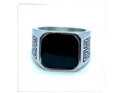 (O105) Ocelový pánský prsten PEČEŤ s řeckým vzorem