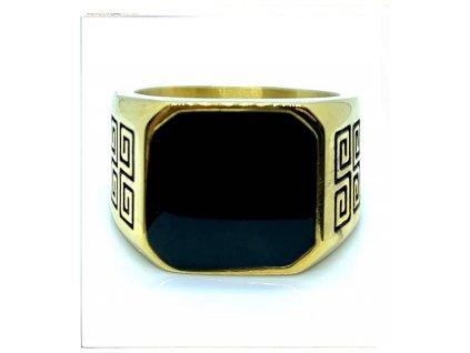 (O108) Ocelový pánský prsten PEČEŤ s řeckým vzorem, GOLD/zlatá barva