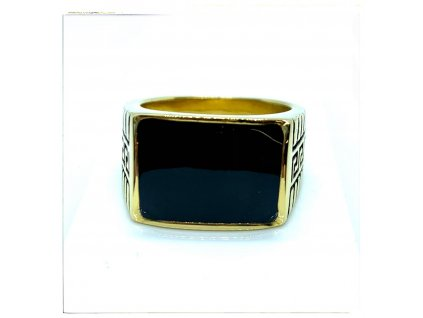 (O107) Ocelový pánský prsten PEČEŤ s řeckým vzorem GOLD/zlatá barva 2