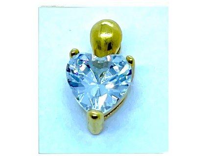 (O3330) Ocelový přívěšek drobné SRDCE s broušeným kamínkem, GOLD/zlatá barva