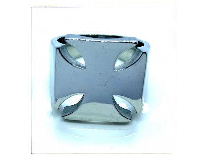 (O103) Ocelový pánský prsten MALTÉZSKÝ KŘÍŽ lesk