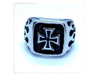 (O112) Ocelový pánský prsten MALTÉZSKÝ KŘÍŽ s plameny 3