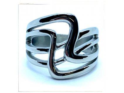 (O153) Ocelový dámský prsten bez kamínků VLNKY