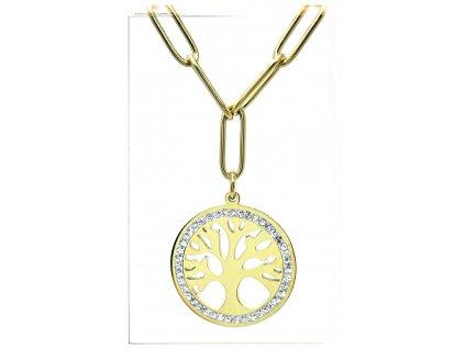 (O4022) Ocelový dámský set/náhrdelník STROM ŽIVOTA s kamínky, GOLD/zlatá barva