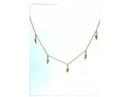 (O4032) Ocelový dámský set/náhrdelník ZRNKA, GOLD/zlatá barva