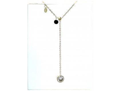 (O4035) Ocelový dámský set/náhrdelník s kamínkem, GOLD/zlatá barva
