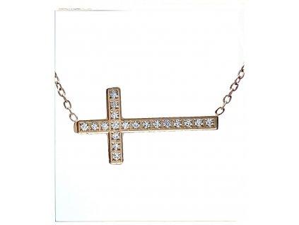 (O4042) Ocelový dámský set/náhrdelník LEŽÍCÍ KŘÍŽEK s kamínky, ROSE GOLD/růžová barva