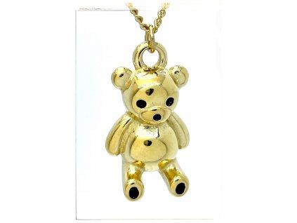 (O4052) Ocelový dámský set/náhrdelník MEDVÍDEK, GOLD/zlatá barva