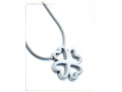 (O4055) Ocelový dámský set/náhrdelník ČTYŘLÍSTEK