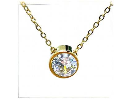 (O4061) Ocelový dámský set/náhrdelník s kamínkem, GOLD/zlatá barva