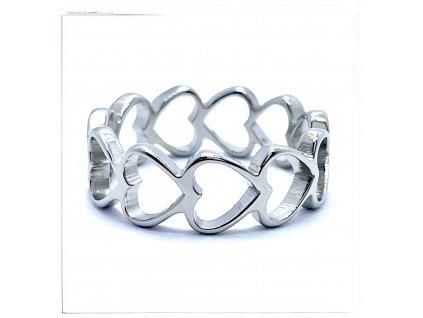 (O159) Ocelový dámský prsten se SRDÍČKY