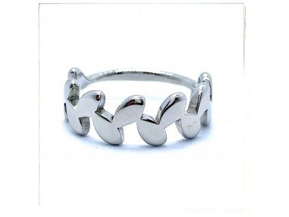 (O160) Ocelový dámský prsten LISTY