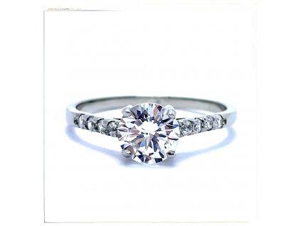 (O183) Ocelový dámský prsten s kamínky