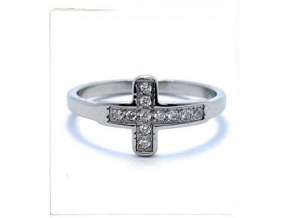 (O186) Ocelový dámský prsten KŘÍŽEK s kamínky