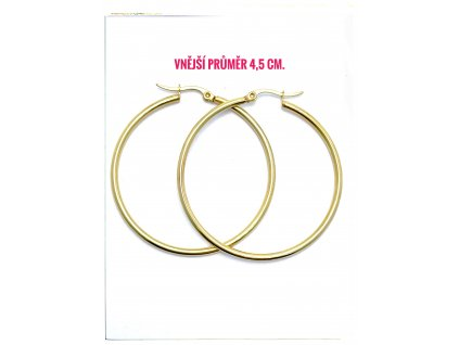 (O5312) Ocelové náušnice KRUHY Ø 45 MM, GOLD/zlatá barva