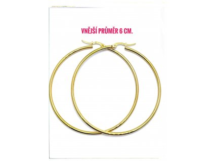 (O5314) Ocelové náušnice KRUHY Ø 60 MM, GOLD/zlatá barva