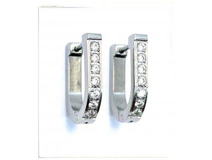 (O5100) Ocelové náušnice KROUŽKY s kamínky
