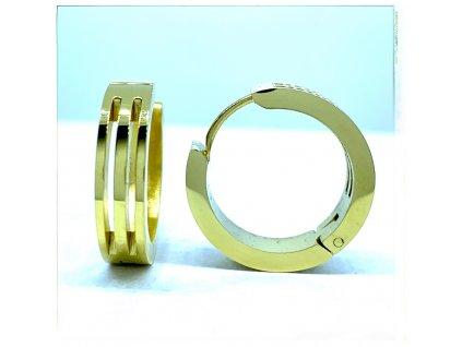 (O5226) Ocelové náušnice KRUHY s průhledem GOLD/zlatá barva.