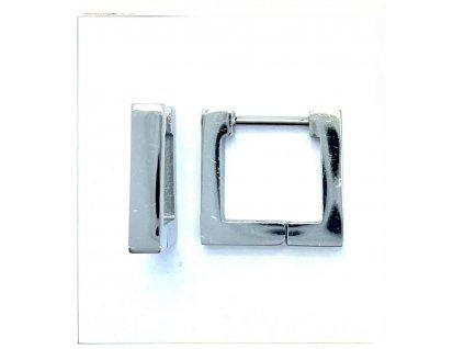 (O5331) Ocelové náušnice KROUŽKY, HRANATÉ bez kamínků