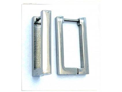 (O5332) Ocelové náušnice KROUŽKY, HRANATÉ bez kamínků